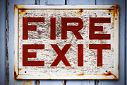 Exit Sign Prints - Old Fire Exit sign Print by Richard Thomas