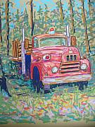 Fire Pastels Posters - Old Fire Truck Poster by Rae  Smith