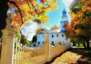 Fall Scenes Framed Prints - Old First Church of Bennington Framed Print by Thomas Schoeller