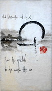 Haiga Suiboku Ga Sumi E Ink Paper Kozo Calligraphy Seal Japan Japanese Hiragana Katakana Kanji Crane Bird Rain Season Leg Heron Basho Haiku Short Pond Lake Seal Air Water Nature Wildlife Landscape Prints - Old fisherman at dusk Print by Tenku