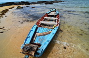 Canoe Pyrography Metal Prints - Old fishing boat Phu Quoc Metal Print by Jacques Van Niekerk