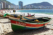 Bathing Art - Old Fishing Boats on Copacabana Beach by George Oze