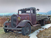 Chevy Pickup Prints - Old flat bed truck 1 Print by Ken Smith
