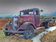 Chevy Pickup Prints - Old Flat Bed Truck 2 Print by Ken Smith