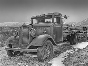 Chevy Pickup Prints - Old Flat Bed Truck Black and White Print by Ken Smith