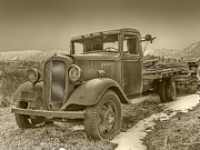 Vintage Truck Photos - Old Flat Bed Truck Sepia Tone by Ken Smith