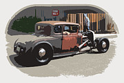 Cowboy Pencil Drawings Posters - Old Ford Coupe Poster by Steve McKinzie