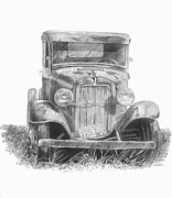 Ford Truck Drawings - Old Ford Truck by Scott Parker