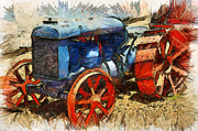 Bill Alexander Digital Art - Old Fordson Tractor by Bill Alexander