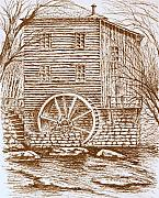 Old Mills Drawings Posters - Old Forge Mill Poster by Terence John Cleary