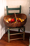 Primitives Posters - Old Fruit Basket Poster by Carmen Del Valle