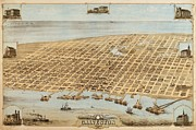Reproduction Drawings Framed Prints - Old Galveston Map Framed Print by Pg Reproductions