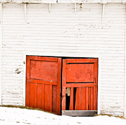 Painted Wood Prints - Old Garage Doors Print by Edward Fielding