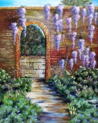 Wisteria Mixed Media Prints - Old Garden Gateway Print by Riley Geddings