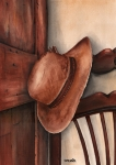 Leather Paintings - Old Garden Hat by Angela Armano