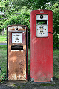Gas Pump Posters - Old Gas Station Pumps Poster by Paul Ward