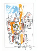 Old Town Drawings Acrylic Prints - Old Gate N France Acrylic Print by Marilyn MacGregor