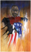 African Mixed Media Framed Prints - Old Glory Framed Print by Anthony Burks