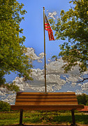 Independence Park Posters - Old Glory Bench Poster by Bill Tiepelman