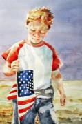 4th July Painting Prints - Old Glory Forever Young Print by Diane Fujimoto