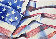 Red White And Blue Drawings - Old Glory by Garry McMichael