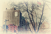Empire State Buldingtrees Framed Prints - Old Glory in Old Style and Empire Framed Print by Alex AG