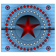 Photo Manipulation Mixed Media Framed Prints - Old Glory Star Framed Print by Mario Carini