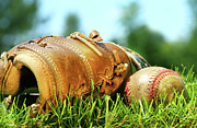 Baseball Closeup Photo Metal Prints - Old glove and baseball  Metal Print by Sandra Cunningham