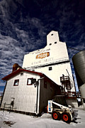 Oats Digital Art Posters - Old Grain Elevator Saskatchewan in Winter Poster by Mark Duffy
