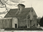Barns Drawings Prints - Old Grainery Print by Bryan Baumeister