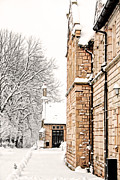 Framed Winter Snow Photograph Posters - Old Grammar School Ormskirk Poster by Liam Liberty