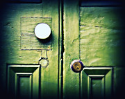 Door Knob Posters - Old Green Doors Poster by Perry Webster