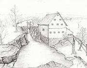 Grist Mill Drawings Posters - Old Grist Mill Poster by Dan Theisen