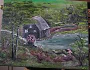 Grist Mill Paintings - Old grist mill by M Bhatt