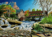 Covered Bridge Drawings Posters - Old Grist Mill Poster by Robert Thornton