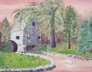 Sandwich Paintings - Old Grist Mill by Suzanne  Marie Leclair