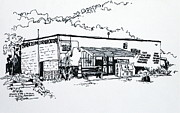 Grocery Drawings - Old Grocery Store - W. Delray Beach Florida by Robert Birkenes