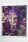 Funny Monsters Posters - Old Halloween Masks Poster by Garry Gay