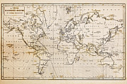 Drawn Prints - Old hand drawn vintage world map Print by Richard Thomas