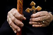 Old Hands Photos - Old Hands and crucifix  by Danny Yanai