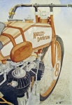 Harley Davidson Paintings - Old Harley by Patti Siehien
