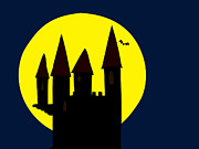 Skylines Drawings Posters - Old Haunted Castle In Full Moon Poster by Michal Boubin