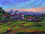 Hay Bales Paintings - Old Hollabrook Farm at Dusk by Jeff Pittman