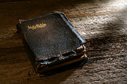 Leather Prints - Old Holy Bible Print by Olivier Le Queinec