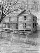 Wooden Building Drawings Posters - Old Homeplace Poster by Julie Brugh Riffey