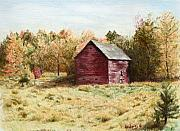 Barn Drawings Posters - Old Homestead Barn Poster by Kathy Roberts