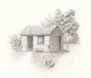 Abandoned House Drawings Prints - Old Homestead Print by Pris Hardy