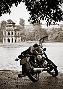 Motorcycle Photos - Old Honda by David Bowman