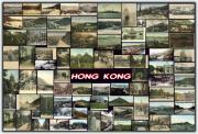 Collage Pyrography Framed Prints - Old Hong Kong Collage Framed Print by Janos Kovac