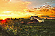 Shed Digital Art Posters - Old horse shed at sundown Poster by Randall Branham